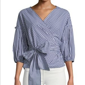 Max Studio Red Gingham Check Wrap Blouse • XL